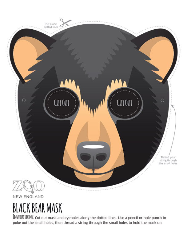 image relating to Printable Bear Mask identify Black Endure Mask Zoo Contemporary England