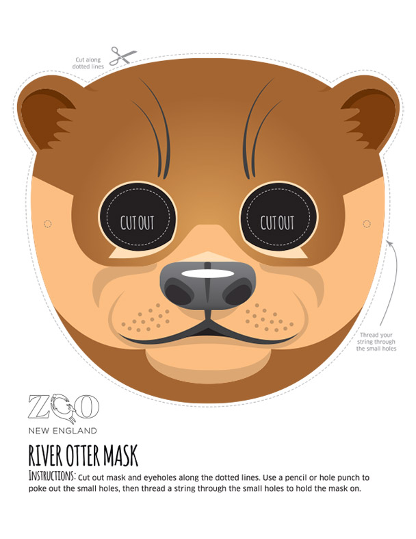 sloth mask template - otter mask zoo new england