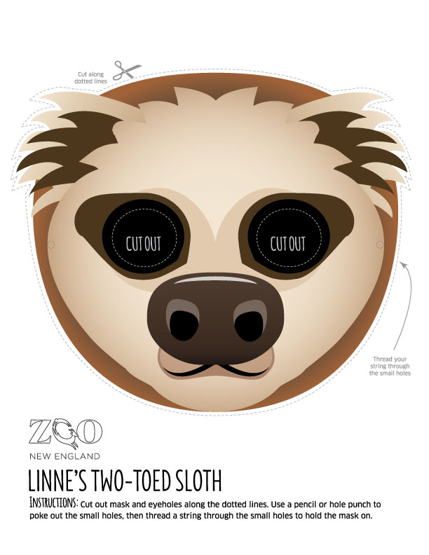 sloth mask zoo new england With sloth mask template